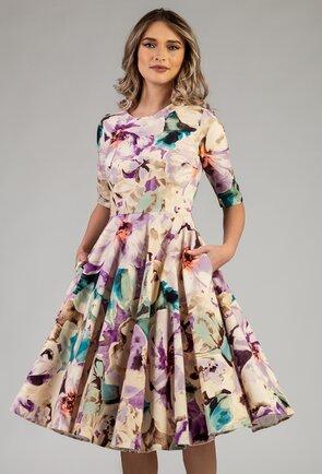 Rochie crem din bumbac cu imprimeu floral mov