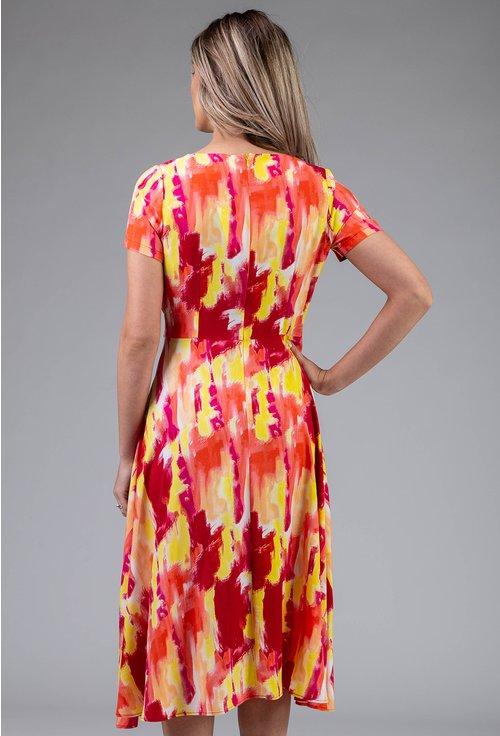 Rochie cu decolteu tip parte peste parte multicolora
