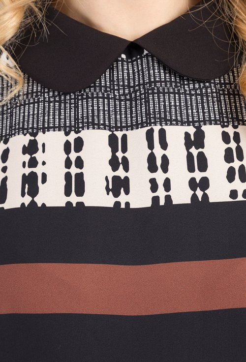 Rochie cu dungi si imprimeu abstract Taisia