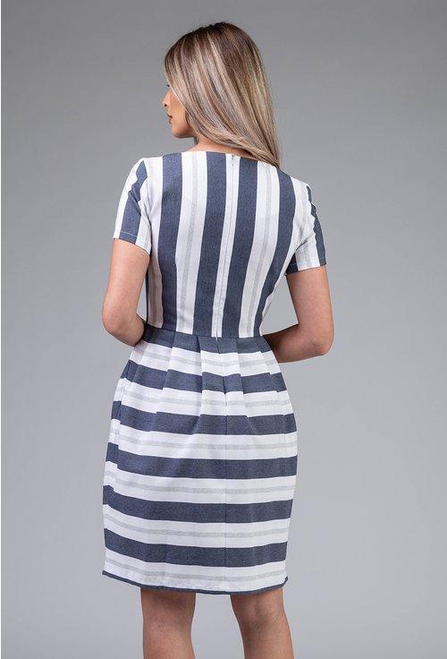 Rochie cu dungi verticale si orizontale cu buzunare