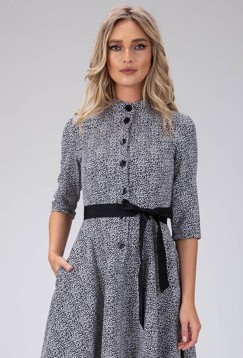 Rochie cu imprimeu abstract alb cu negru si buzunare