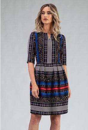 Rochie cu imprimeu abstract in nuante de negru si albastru