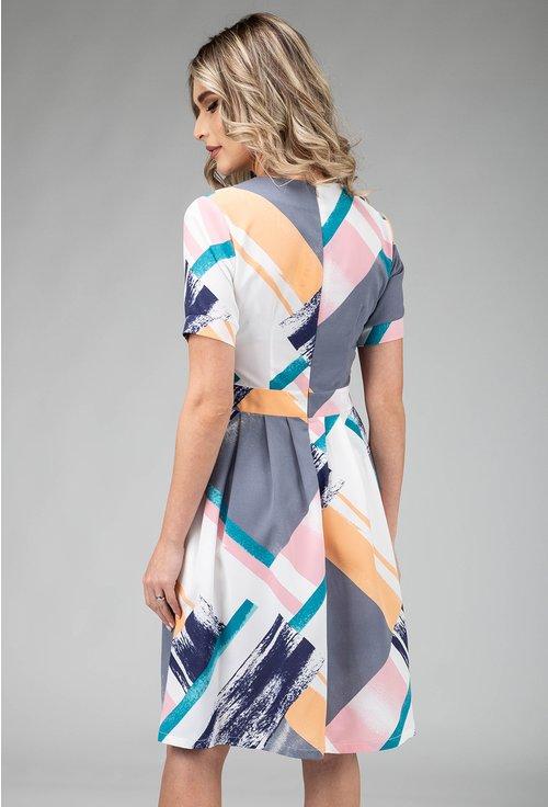 Rochie cu imprimeu abstract in nuante pastelate