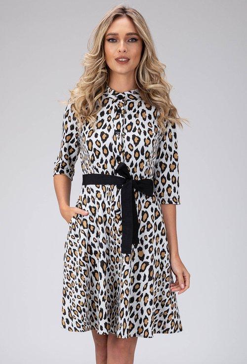 Rochie cu imprimeu animal print cu buzunare