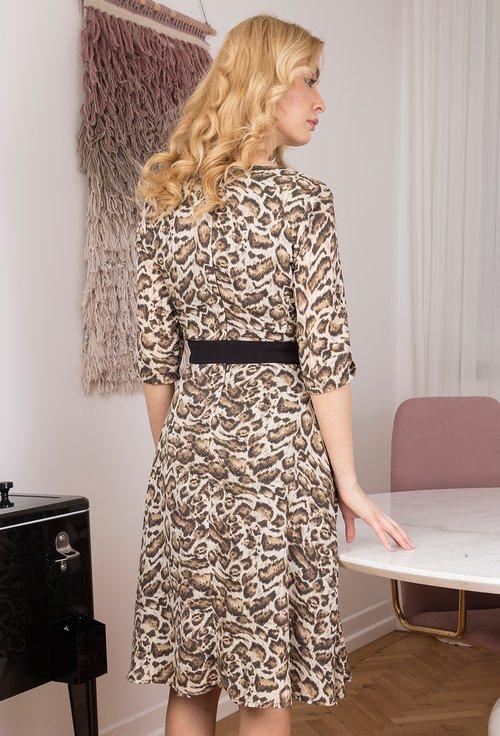 Rochie cu imprimeu animal print si buzunare Caliopi