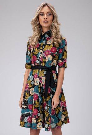 Rochie cu imprimeu colorat si nasturi