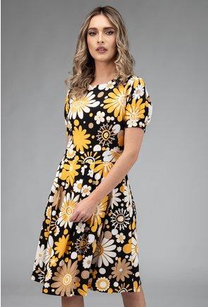 Rochie cu imprimeu floral in nuante de negru, alb si galben