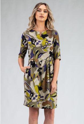 Rochie cu imprimeu floral in nuante de verde si mov