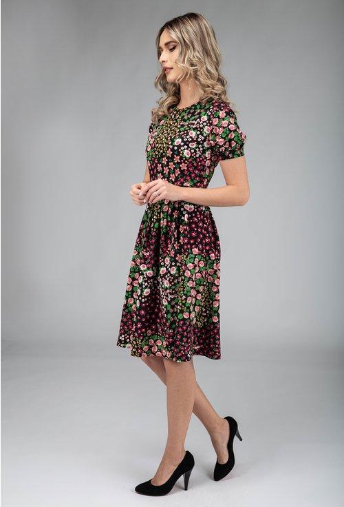 Rochie cu imprimeu floral multicolor si maneca scurta