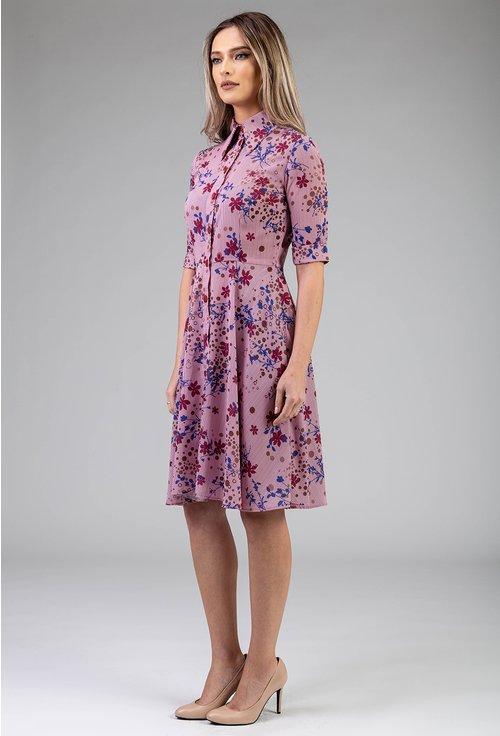 Rochie cu imprimeu floral si dungi verticale