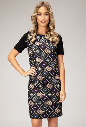 Rochie cu imprimeu geometric colorat Laris