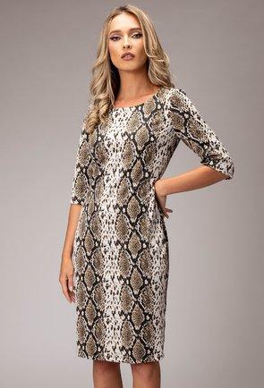 Rochie cu imprimeu tip piele de sarpe nuanta maro