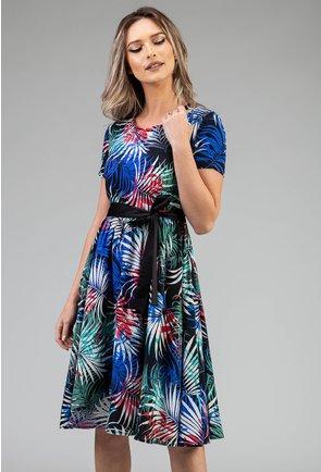 Rochie cu imprimeu vegetal in nuante de albastru si verde