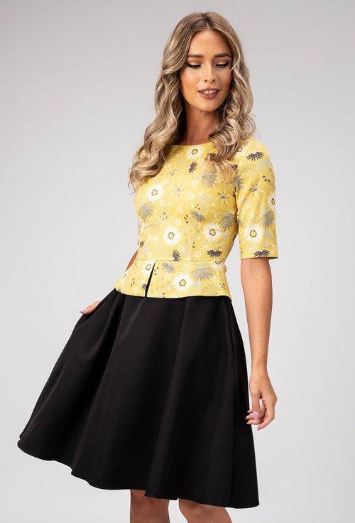 Rochie cu peplum nuanta galben cu negru Elis