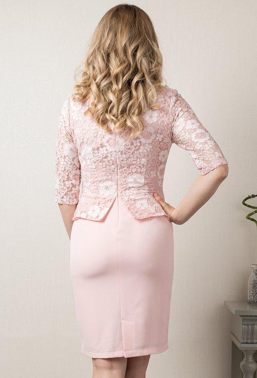 Rochie cu peplum roz pudra Karinne