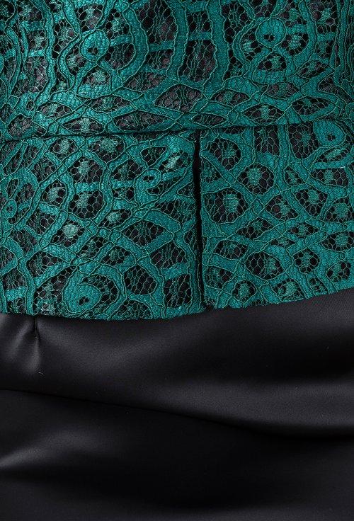Rochie cu peplum verde smarald cu negru  Aniela