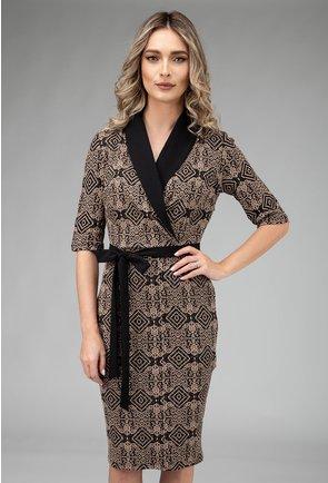 Rochie cu rever negru si imprimeu abstract in relief