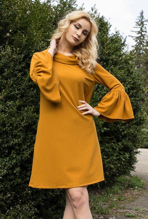 Rochie cu volan nuanta galben mustar Sofia