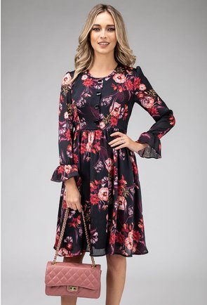 Rochie cu volane imprimeu floral colorat