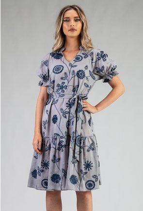 Rochie din bumbac albastru-gri cu detalii broderie