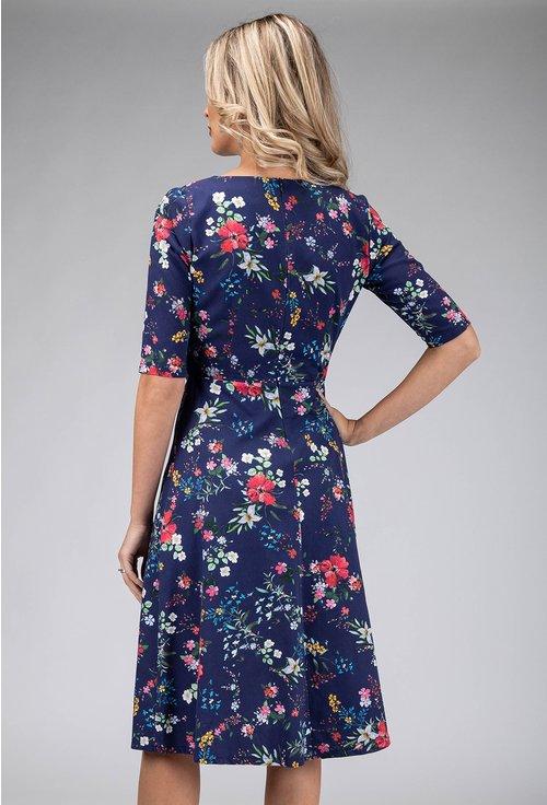 Rochie din bumbac bleumarin cu imprimeu flori