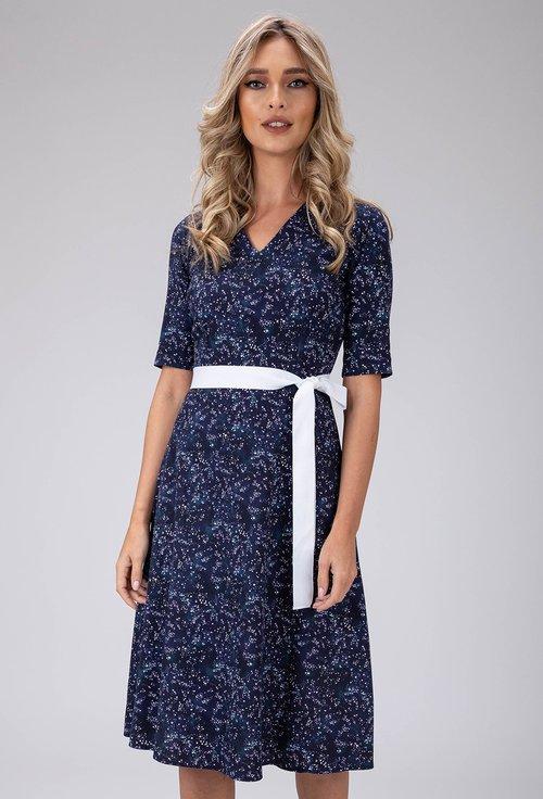 Rochie din bumbac bleumarin cu imprimeu stele