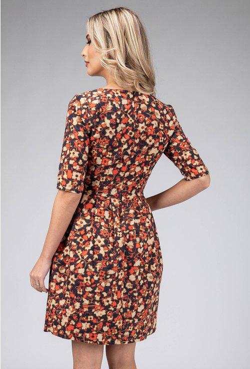 Rochie din bumbac cu buzunare si imprimeu floral