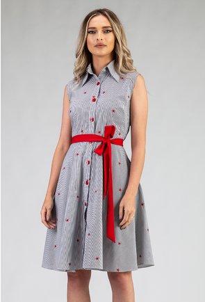 Rochie din bumbac cu dungi si cordon rosu