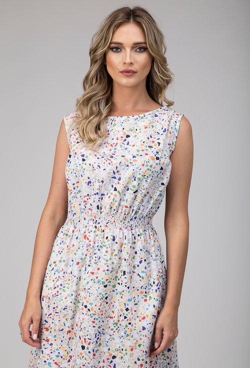 Rochie din bumbac cu imprimeu abstract colorat Bia