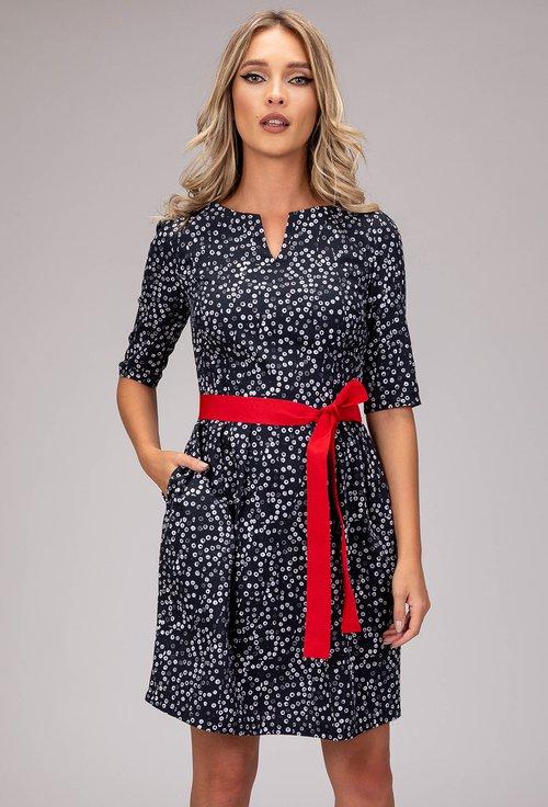 Rochie din bumbac cu imprimeu buline si cordon rosu