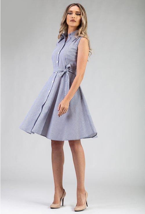 Rochie din bumbac cu imprimeu cu dungi