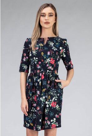 Rochie din bumbac cu imprimeu floral colorat si buzunare