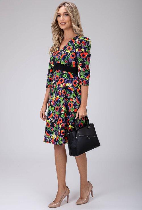 Rochie din bumbac cu imprimeu floral multicolor