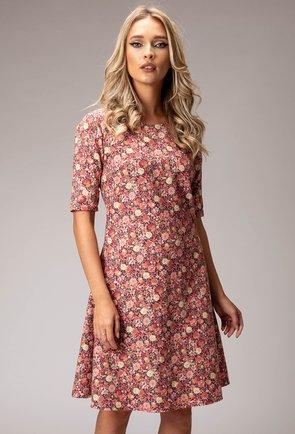 Rochie din bumbac cu imprimeu floral roz