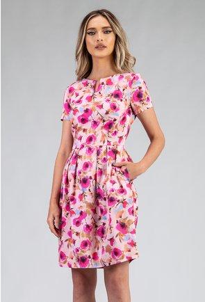 Rochie din bumbac cu imprimeu floral roz si buzunare