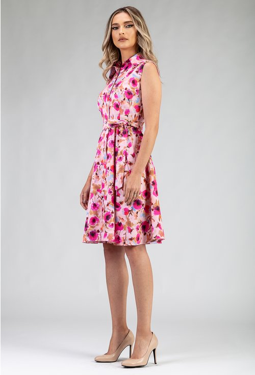 Rochie din bumbac cu imprimeu floral roz si rever