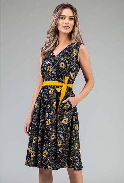 Rochie din bumbac cu imprimeu floral si cordon