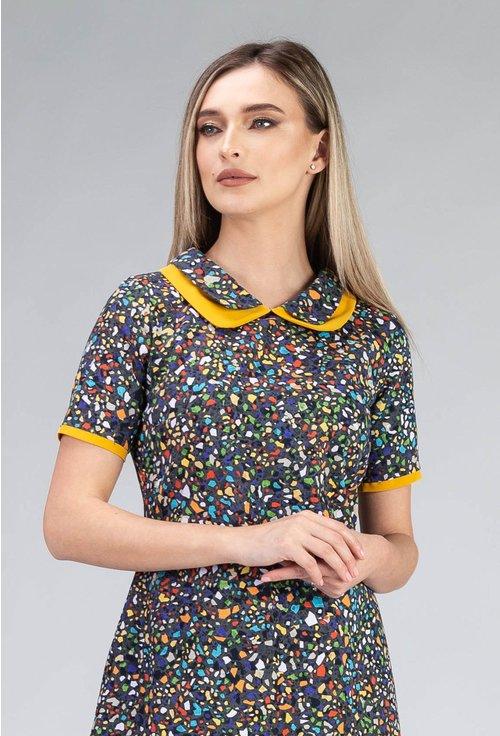 Rochie din bumbac cu imprimeu geometric colorat