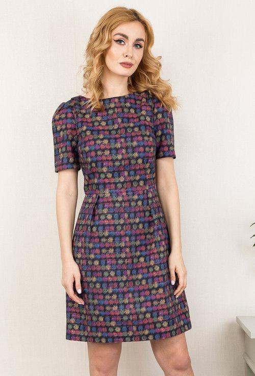 Rochie din bumbac cu imprimeu multicolor Indila