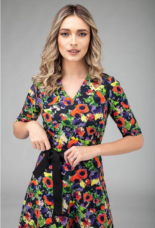 Rochie din bumbac cu imprimeu multicolor si cordon