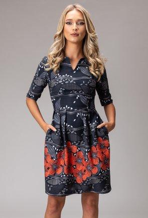 Rochie din bumbac gri cu imprimeu floral si buzunare