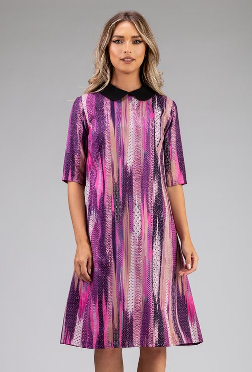 Rochie din bumbac in nuante de mov prevazuta cu guler