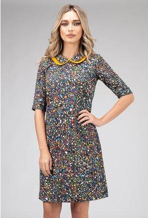 Rochie din bumbac multicolora cu guler dublu