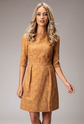 Rochie din bumbac nuanta camel