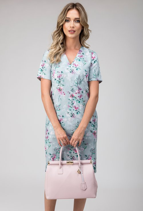Rochie din bumbac nuanta verde pastelat Irina