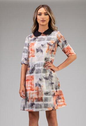 Rochie din bumbac organic cu imprimeu cu frunze