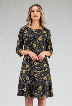 Rochie din bumbac organic cu imprimeu floral galben
