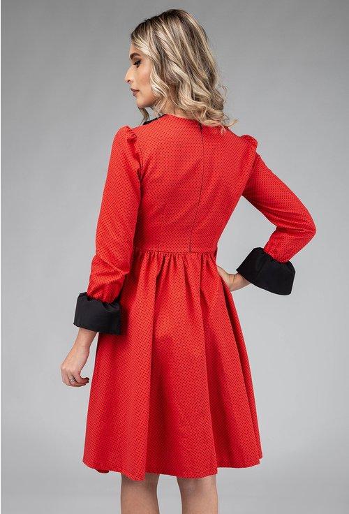 Rochie din bumbac rosie cu buline mici negre