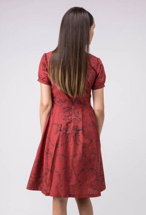 Rochie din bumbac rosu caramiziu cu imprimeu negru Emilie