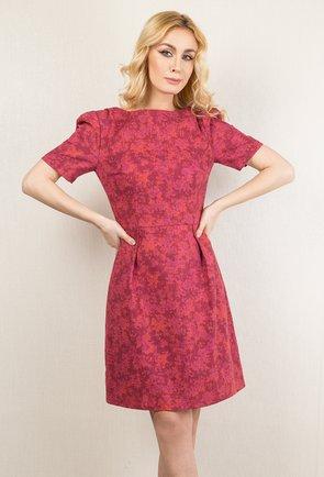 Rochie din bumbac roz cu imprimeu abstract Doris